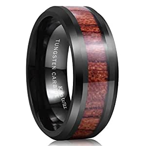 King Will NATURE 8mm Black Tungsten Carbide Ring Wood Inlay Wedding Band High Polished Finish Comfort Fit7