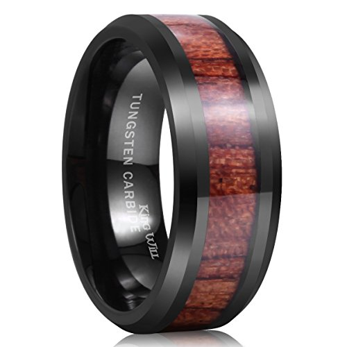 King Will Nature 8mm Black Tungsten Carbide Ring Wood Inlay Wedding Band High Polished Finish Comfort -