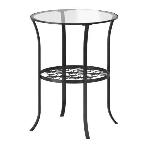 Klingsbo Side Table, Black, Clear Glass 10000