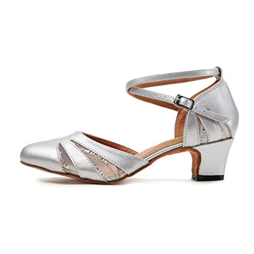 4 Toe Pumps Latin Dance MINITOO Closed Silver UK Shoes 5 Synthetic GL261 Women's Mesh Salsa Party q7T7wta6