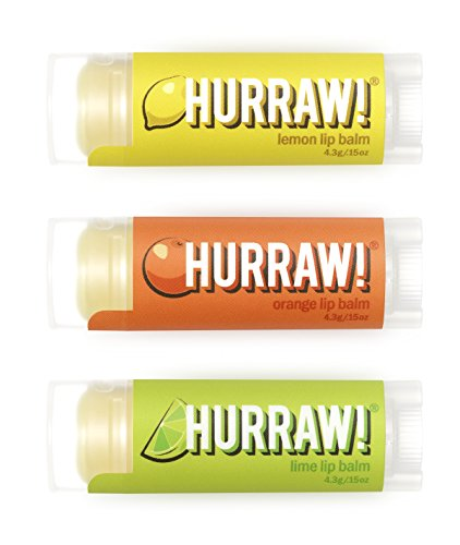 (Hurraw Lemon, Orange, Lime Lip Balms Bundle, 3 Pack)