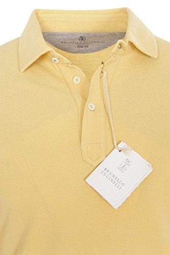 Brunello Cucinelli Polo Poloshirt Herren Gelb Slim Fit Baumwolle Casual XXXL