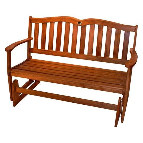 CHOOSEandBUY 4-Ft Outdoor Patio Garden Love-seat Glider Chair in Natural Eucalyptus Wood Garden Bench Patio Outdoor Porch