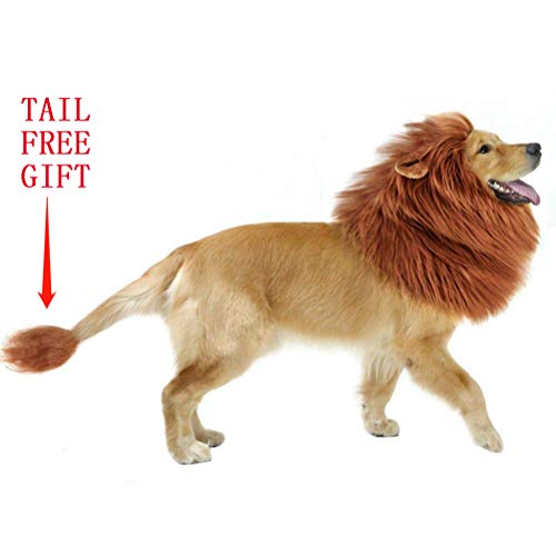 Lion Mane Costume Dog Wig Halloween Dog Fancy Mane Wig Costume Adjustable Lion Wig Suitable for Large Dog Lion Mane with Ears and -