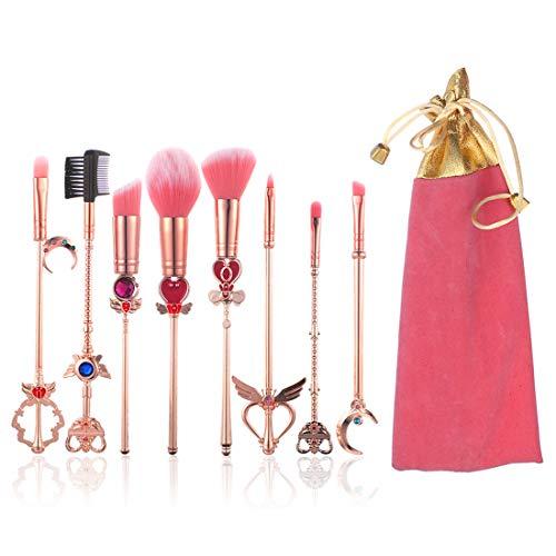 YINUO 8 Pcs Sailor Moon Sakura Makeup Brush Set with Pink Bag,Rose Gold Alloy Handle Foundation Powder Flat Eyeline Blush Brushes Set for Women Girls Birthday Gift(Sailor Moon)