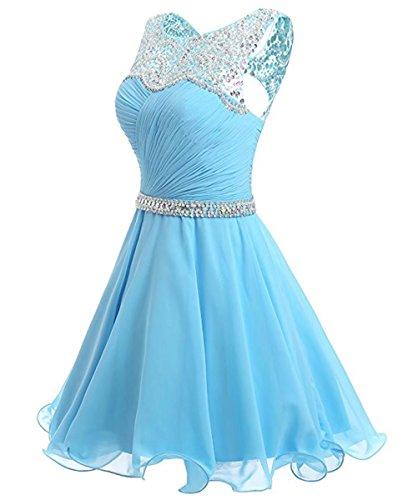 Wedding AiniDress Party Chiffon Short Sleeveless for Evening Prom Beading Dresses Bridesmaid Grape Homecoming Dress 11wqxBgz