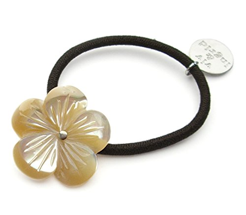 viv&ingrid Tan Mother of Pearl Hibiscus Hairtie (Tan Of Pearl Mother)