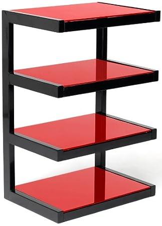 norstone esse hifi meuble hifi lgant et original 4 tablettes finition noir laqu et verre tremp