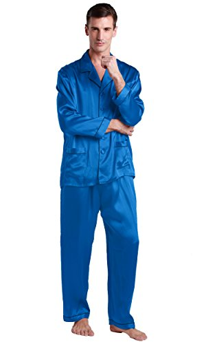 LilySilk Silk Pajamas Set for Men Summer 22 momme Sleep Loungewear Luxury Soft Sleepwear Diamond Blue Large by LilySilk