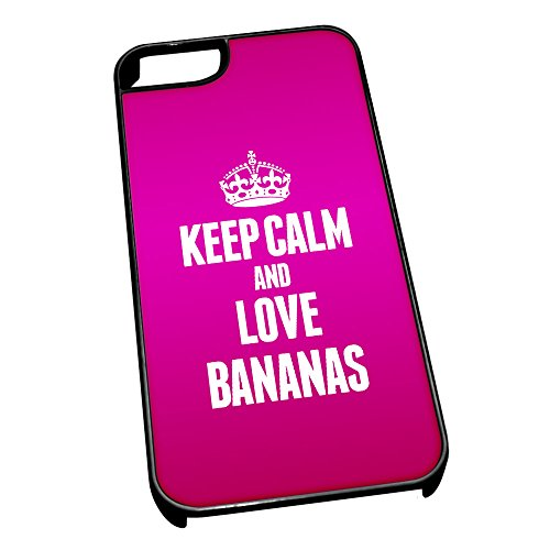 Nero cover per iPhone 5/5S 0799Pink Keep Calm and Love Bananas