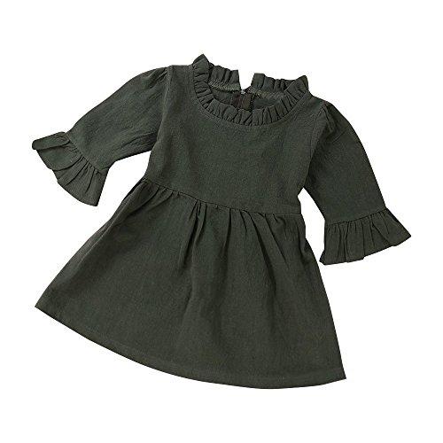 644e13b291722 AliveGOT Lovely Army Green Baby Girls Toddler Mini Flouncing Long Sleeve  Ball Gown Princess Dress