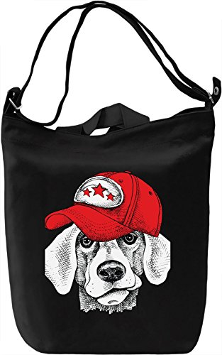 Dog With The Cap Borsa Giornaliera Canvas Canvas Day Bag| 100% Premium Cotton Canvas| DTG Printing|