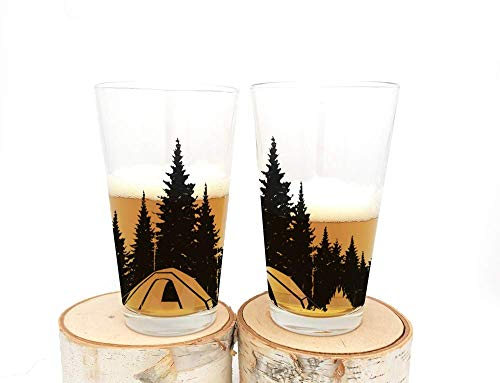 Camping in the Woods - Set of Two Screen Printed Pint Glasses
