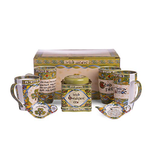 - The Irish Tea Set - 14oz Tea Cups, Two Teabag Holder and 50 Irish Tea Bags in a Matching  Box, Decorated with the Irish Weave Patters and Irish Sayings