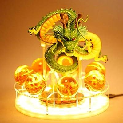Royal Kiss Dragon Ball Z Figurines Shenron Action Figure Shenlong with Dragon Ball Set 7PCS 35mm Crystal Dragon Balls +Acrylic Shelf Charging Light (Set Green Dragon): Toys & Games