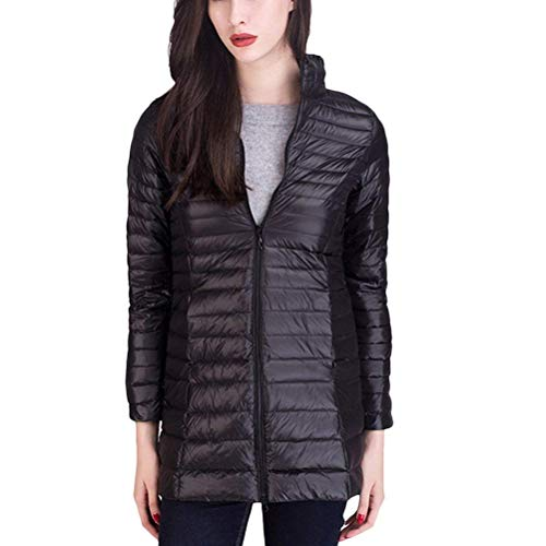 Mode Color Adelina Autumn Lightweight Quilted Ladies Down Winter Black Sleeve Solid Outerwear Casual Jacket Quilted with Pockets Jacket Jackets Long Padded Zipper rXtYxOX