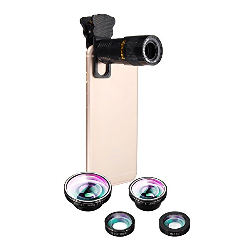 Phone Camera Lens, Hizek 5 in 1 Universal Clip On...