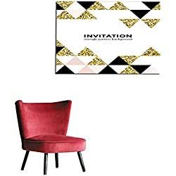 "Home Decor Wall Abstract Geometric Gold Pattern Background for Invitation Card Design Template of Square and Triangle Modern Trendy Golden Elements Vector Geometry Backdrop of Gold glitmural 28""x20"""