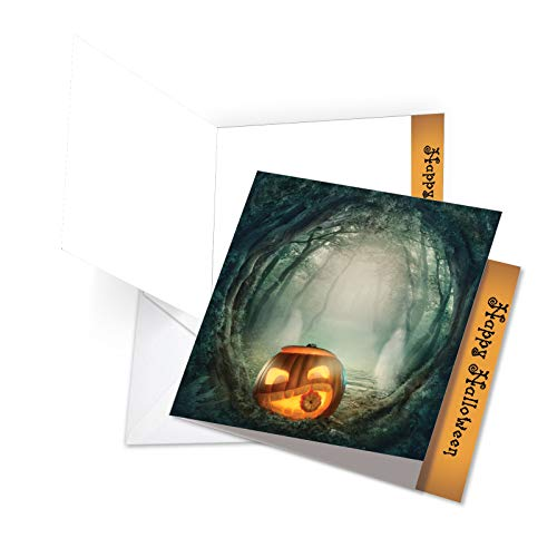 JQ4962GHWG New Jumbo Square-Top Halloween Greeting Card: Spooky Pumpkins, Featuring Spooky and Eerie Images of Jack-O-Lanterns and Pumpkins, With Envelope (Large Size: 8.25