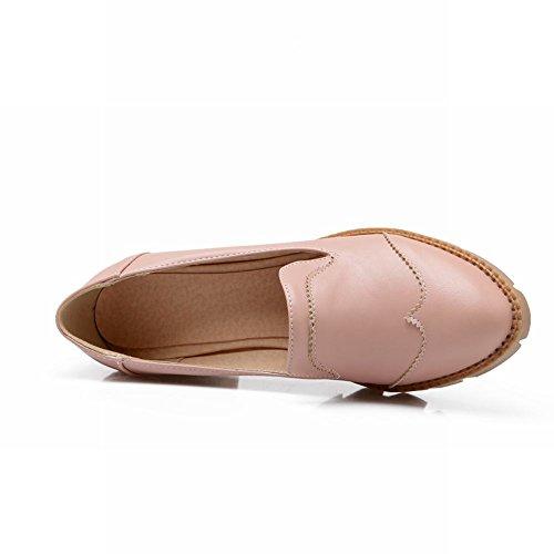 Latasa Womens Fashion Mid Chunky Heel Slip on Comfort Loafers Shoes Pink F0v7HGI