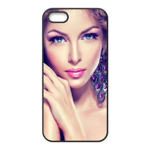 Blue Eyed Girl Glance 83685 coque iPhone 5 5S cellulaire cas coque de téléphone cas téléphone cellulaire noir couvercle EOKXLLNCD22320