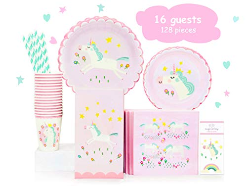 - Hugo & Emmy Unicorn Birthday Party Supplies Set for Girls - Includes Plates, Cups, Napkins, Straws, Favor Bags and Tattoos - 128 Pieces (Serves 16)
