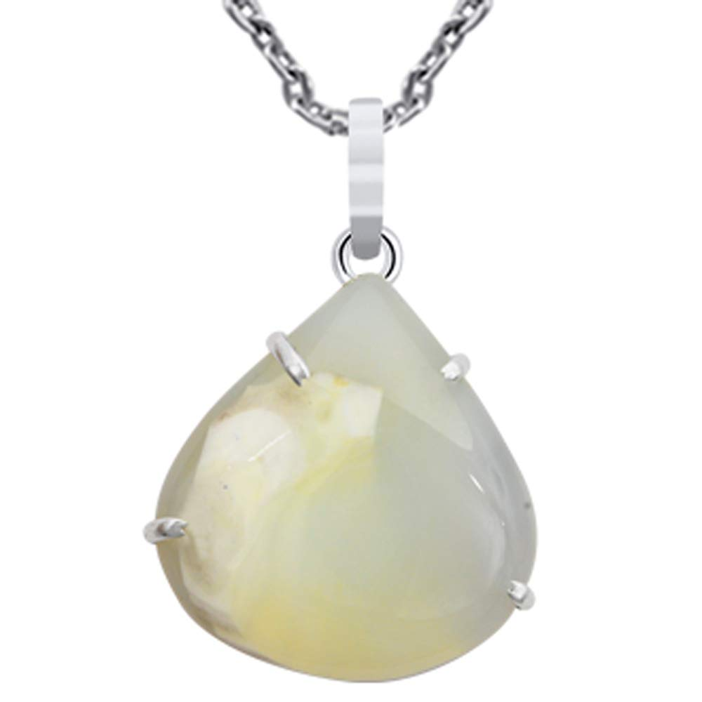 Orchid Jewelry 40 Natural Pear White Agate Sterling Silver Pendant Necklace With an 18 Inch Chain A Lovely Long Chain Pendant Necklace Set For Women In Silver With A Vintage Vibe