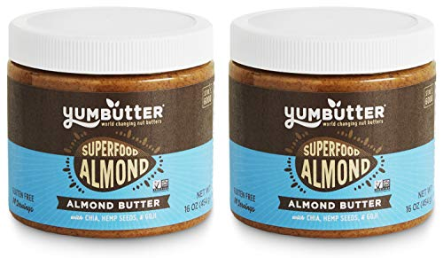 Oz 16 Almonds Jar (Superfood Almond Butter by Yumbutter – Naturally Delicious, Gluten Free, Vegan, Non-GMO, 16oz Jar – Pack of 2)