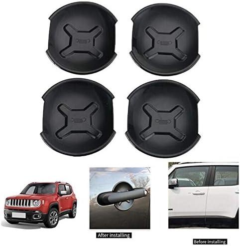 4Pcs//Set F-Mingnian-rsg Mn-parts Car Exterior Door Handle Bowl Cover Trim Frame Decor For Jeep Renegade 2016 2017 Car Accessories Color : Black