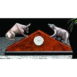 Stock Market Desk Clock, Brass - Bull and Bear Statue