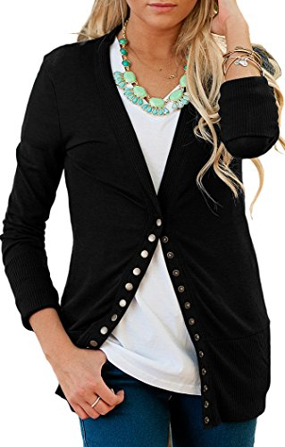 NENONA Women's V-Neck Button Down Knitwear Long Sleeve Soft Basic Knit Snap Cardigan Sweater(Black-M) (Black Womens Cardigan)
