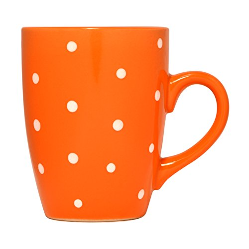 Polka Dot Mug by Govinda Crafts, Ceramic Coffee Cup 10oz, Cute Mugs for Women and Men, Colored Mugs (Orange) - Orange Polka Dot
