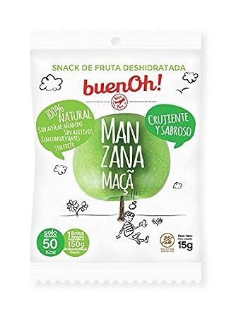 Manzana deshidratada crujiente - Pack 18 x 15g - Sin azúcar añadido, sin gluten, sin aditivos y sin freír. 100% Natural. Ideal para aperitivos, dietas ...