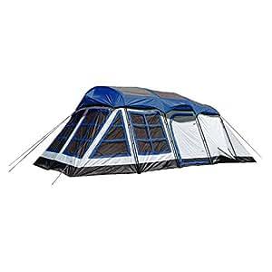 """Tahoe Gear Glacier 20 x 12"""" 14-Person 3-Season Family Cabin Tent, Blue and White"""