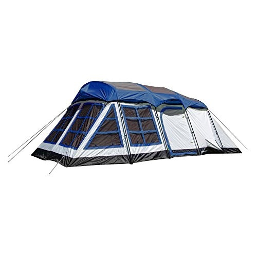 Tahoe Gear Glacier 20 x 12″ 14-Person 3-Season Family Cabin Tent, Blue and White