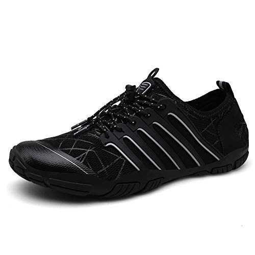 UBFEN Mens Water Shoes Upstream Aqua Shoes Swim Shoes Beach Sports Quick Dry Barefoot for Boating Fishing Diving Surfing with Drainage Driving Yoga 12 Women / 10 Men C Black