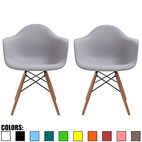 2xhome Set of 2 Light Gray Plastic Armchair Natural Wood Legs Eiffel Dining Room Chair – Lounge Chair Arm Chair Arms Chairs Seats Wooden Wood Leg