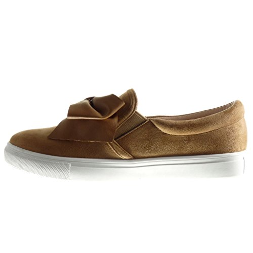 Angkorly - Zapatillas de Moda Deportivos slip-on mujer pajarita Talón tacón plano 2 CM - Camel