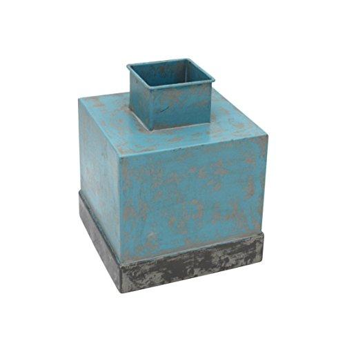 Sagebrook Home Metal Square VASE W/Border Band, Aged Aqua, 6.5x6.5x8.25,