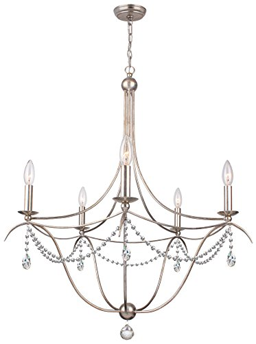 Crystorama 415-SA-CL-SAQ Crystal Accents Five Light Chandelier from Metro collection in Pwt, Nckl, B/S, Slvr.finish,
