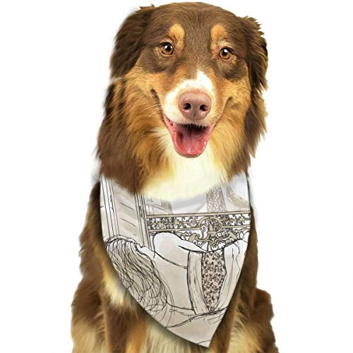 FRTSFLEE Dog Bandana Parisian Woman with The View of Eiffel Tower Scarves Accessories Decoration for Pet Cats and Puppies ()