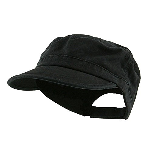 Wholesale Enzyme Washed Cotton Army Cadet Castro Hats  Black    20766  One Size Black One Size -