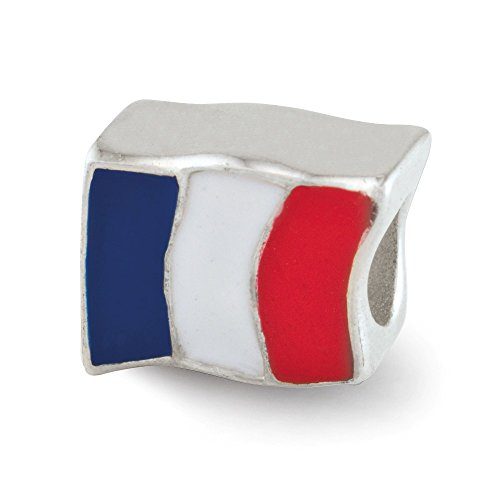 925 Sterling Silver Charm For Bracelet Enameled France Flag Bead Travel Fine Jewelry Gifts For Women For Her ()