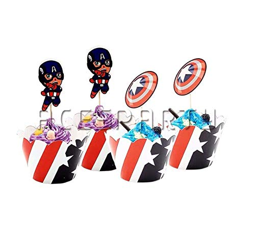 Astra Gourmet Captain America Cupcake Wrappers with Picks for Superhero Themed Party Decoration Party Favor -
