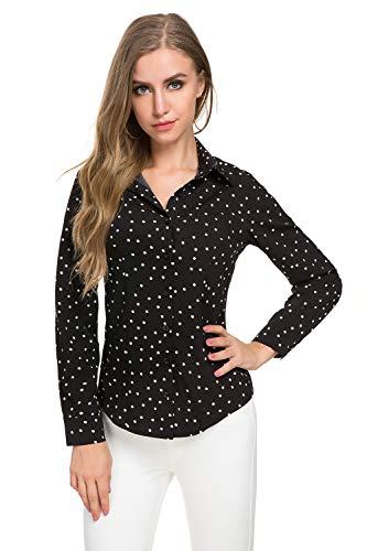 Atnlewhi Womens Basic Long Sleeve Button Down