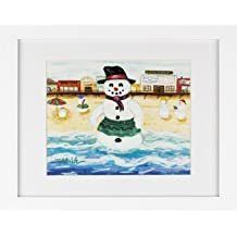 Snowman on Boardwalk - Snowmen Winter Art Print