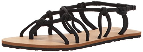 Volcom Women's WHATEVERSCLEVER Knotted Synthetic Leather Sandal Flat, Black, 10 B US ()