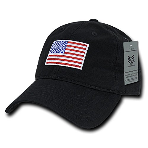 Rapid Dominance American Flag Embroidered Washed Cotton Baseball Cap - Original Black (Cap Cuffley)