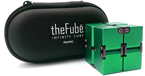PILPOC theFube Infinity Cube Fidget Cube Desk Toy - Premium Quality Aluminum Infinite Magic Cube with Exclusive Case, Sturdy, Heavy, Relieve Stress and Anxiety, for ADD, ADHD, OCD (Green)