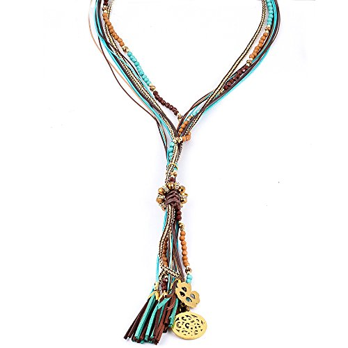 Monily Layer Bohemian Tassel Pendant Necklace Colorful Beads Leather Handmade Long Sweater Chain Necklace Woman Jewelry